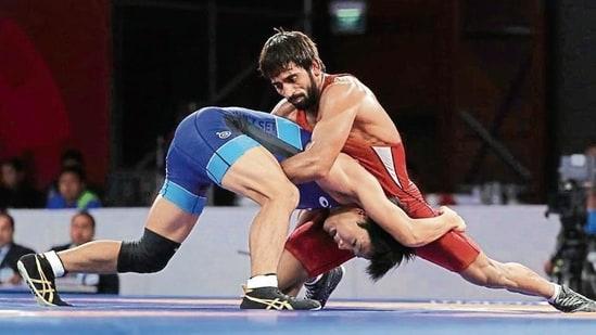 India's Tokyo-bound wrestler Bajrang Punia(AP)