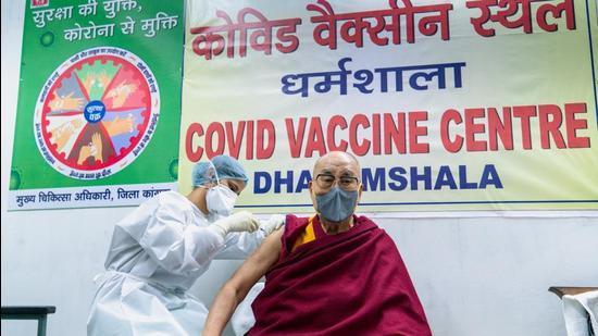 Tibetan spiritual leader, the Dalai Lama, receives a dose of coronavirus disease vaccine in Dharamsala, India (REUTERS)