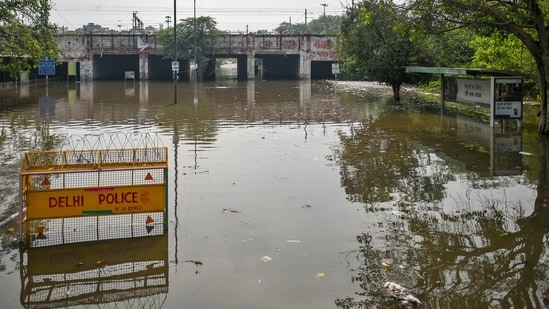 Waterlogging at Prahladpur after a heavy rain spell, in New Delhi on May 20, 2021. (Amal KS/HT Photo)