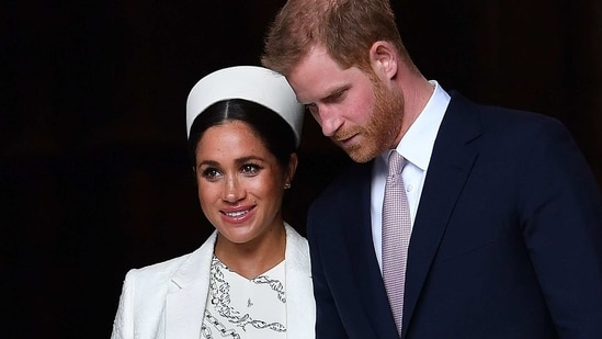 Britain's Prince Harry, Duke of Sussex (R) and Meghan, Duchess of Sussex leave after attending a Commonwealth Day Service at Westminster Abbey in central London.(AP)