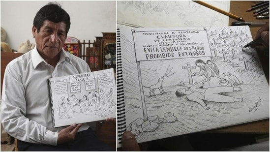 Artist publishes 100 drawings from Peru's Covid-19 pandemic(AP)