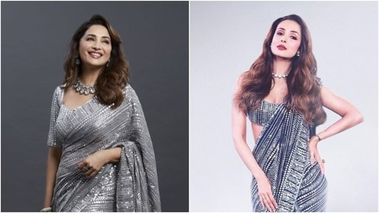Madhuri Dixit and Malaika Arora in similar saree(Instagram/madhuridixitnene and mohitrai)