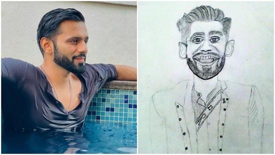 Rahul Vaidya is not impressed by his fan art.