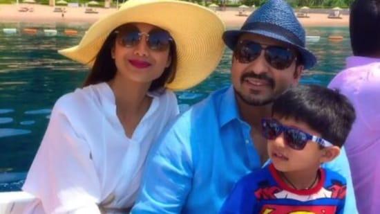 Actor Shilpa Shetty with husband Raj Kundra and son Viaan Raj Kundra.