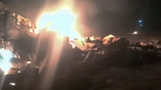 An Indian Air Force (IAF) MiG-21 fighter aircraft crashed near Moga on Thursday night. The aircraft was on a routine training sortie when the accident happened. (ANI Photo)