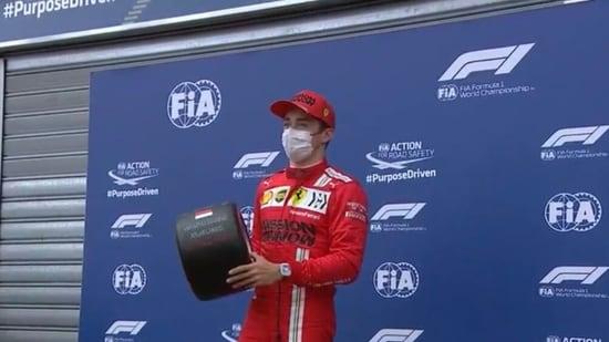 Charles Leclerc celebrates pole at the 2021 Monaco Grand Prix.(Twitter)