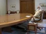 PM Modi holding the virtual review meeting on Sunday.(ANI Photo)