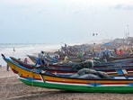 Boats anchored at a beach in Puri, on Saturday as Cyclone Yaas approaches.(PTI Photo)
