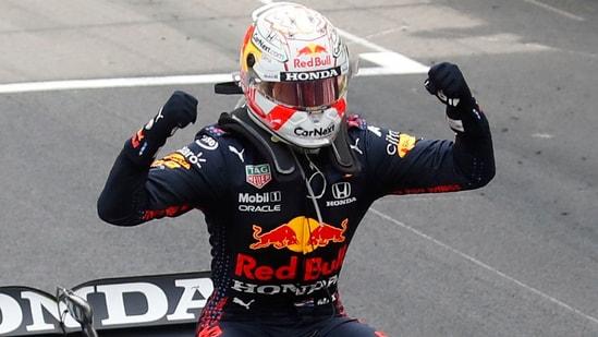 Red Bull's Max Verstappen celebrates winning the Monaco Grand Prix.(Pool via REUTERS)