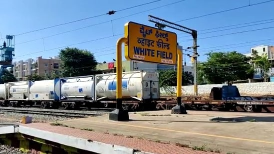 The ninth Oxygen Express reached ICD Whitefield at 07:30 am on Sunday. (ANI Photo)