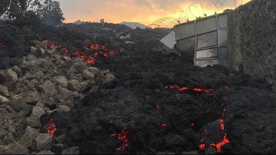 Smouldering ashes are seen in Goma in the eastern Democratic Republic of Congo following the eruption of Mount Nyiragongo on Saturday. (AFP PHOTO.)