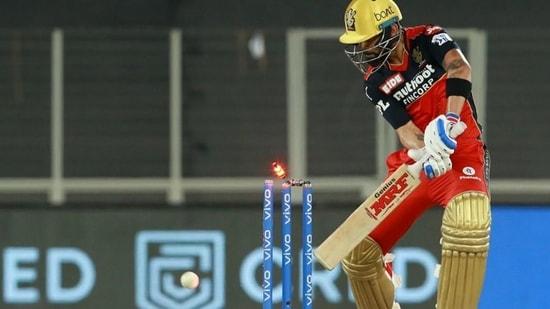 Virat Kohli loses his wicket during IPL 2021 match against Delhi Capitals(IPL)