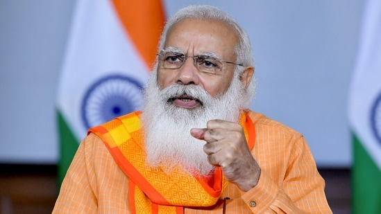 Prime Minister Narendra Modi held a meeting with officials to review preparations to deal with cyclone Yaas.(PTI Photo)
