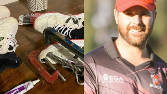 Zimbabwe cricketer Ryan Burls (right) posted a photo of his shoes and the glue on Twitter (right) while seeking sponsorship.(HT Collage)