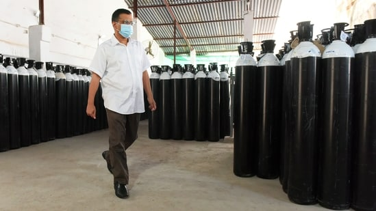 Arvind Kejriwal added that this endeavour to import 6,000 oxygen cylinders is the first-of-its-kind in the country. (ANI Photo)
