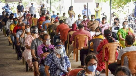 Beneficiaries wait to receive a dose of Covid-19 vaccine,at ESIS Hospital in Navi Mumbai, earlier this month. (File photo)