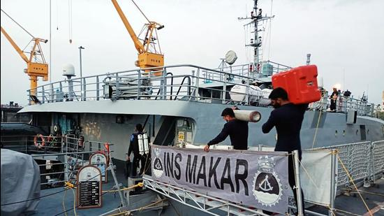 Specialised diving teams of Indian Navy board INS Makar with side scan sonar to look for missing crew of Barge P305 and tug Varapradha in Mumbai on Saturday, May 22. (ANI)