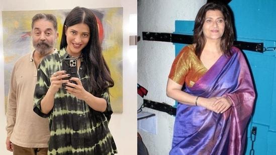 (L) Shruti Haasan with Kamal Haasan, (R) Actor Sarika, Shruti's mother.