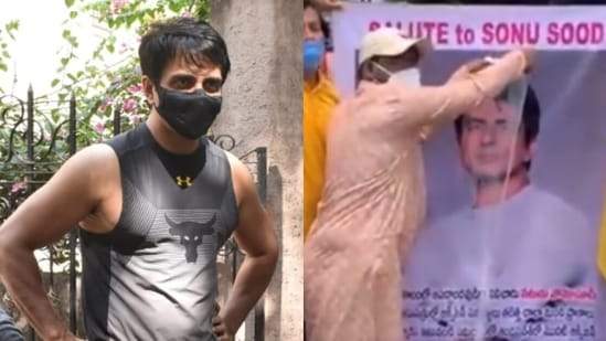 Sonu Sood's fans in Andhra Pradesh pour milk on a banner featuring his face.