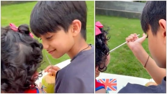 Viaan with his sister Samisha in a video.