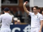 File Photo of Chris Woakes (right) acknowledging the crowd after picking up a five-wicket haul in Tests.(Twitter)
