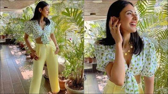 Rakul Preet slays uber-flattering style in quirky avocado crop top, yellow pants(Instagram/appapop)