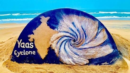 A sand sculpture on Cyclone Yaas, at Puri beach, in Odisha.(ANI)