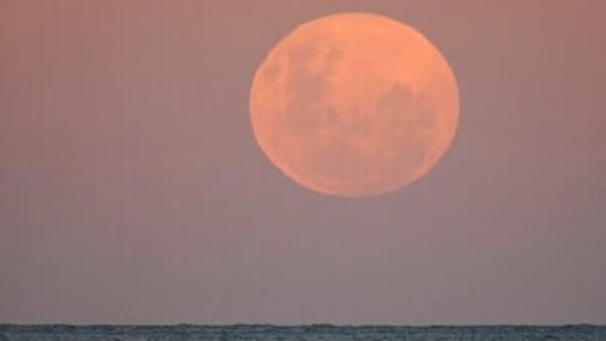 The moon rises as surfers wait for waves in Sydney Wednesday, May 26, 2021. A total lunar eclipse, also known as a Super Blood Moon, will take place later tonight as the moon appears slightly reddish-orange in colour.
