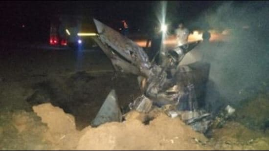 The MIG-21 fighter jet that crashed near Langeana Nawan village in Moga district on May 21.