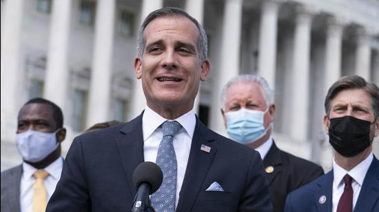 Eric Garcetti, mayor of Los Angeles, speaks during a news conference outside the US Capitol in Washington, D.C., on May 12, 2021. (Bloomberg)