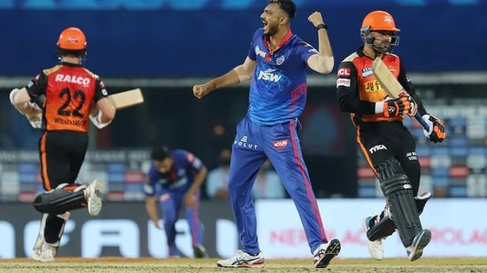 Axar Patel during the Super Over against SRH in IPL 2021 match no. 20(IPL)