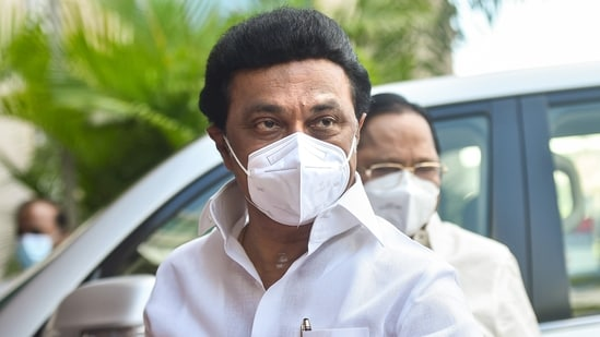 Tamil Nadu Chief Minister M K Stalin arrives for the oath ceremony of the newly elected MLAs of Tamil Nadu Assembly, in Chennai, Tuesday, May 11, 2021. (PTI)