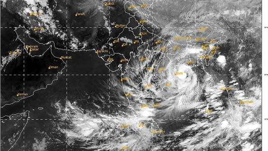 Satellite image shows formation of a low pressure area between 8:30 pm and 8:56 pm as it develops into Cyclone Yaas and approaches the Indian Eastern Coast. (PTI)