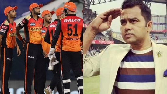 File Photo of Sunrisers Hyderabad in action during IPL 2021 and Aakash Chopra (right).(HT Collage)