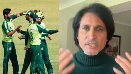 File Photos: Pakistan cricket team in action against Zimbabwe (left) and Ramiz Raja.(HT Collage)