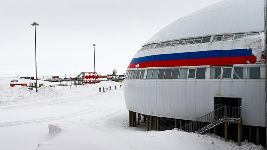 Russian forces are stationed in a clover-shaped complex painted in the colours of the Russian flag: white, blue and red.(AP)