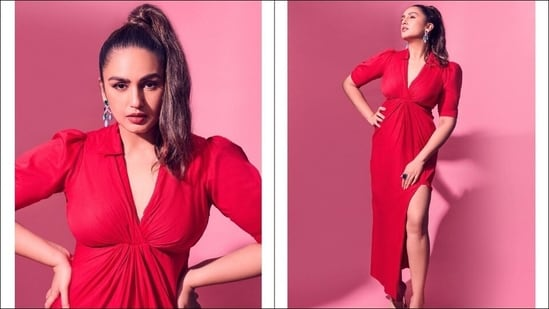 Huma Qureshi's red shirt dress with thigh-high slit is a hot summer favourite(Instagram/who_wore_what_when)