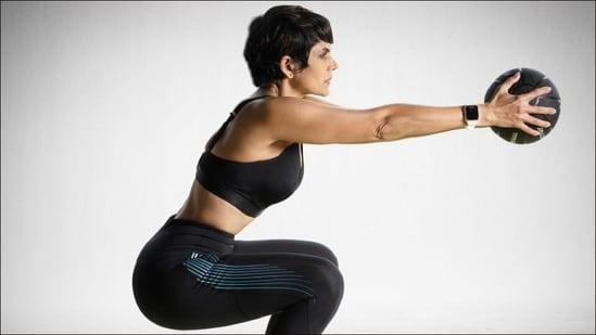 Mandira Bedi sets fitness goals a notch higher with medicine ball squat workout(Instagram/mandirabedi)