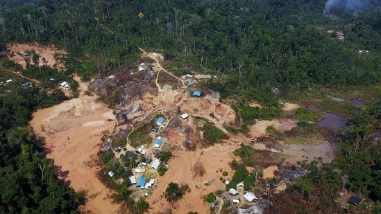 An aerial view show a wildcat gold mine, also known as a garimpo, at a deforested area of the Amazon rainforest near Crepurizao, in the municipality of Itaituba, Para State, Brazil.(REUTERS)