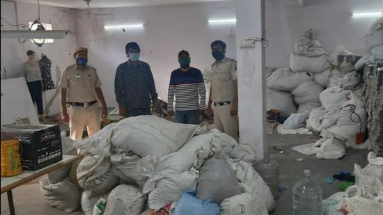 The seized medical waste was sealed in the godown itself keeping in view the risk it posed during the Covid-19 pandemic. (Photo Sourced from Delhi Police)