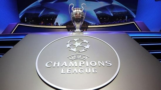 The Champions League Trophy stands on display during the UEFA Champions League football group stage draw ceremony.(Getty Images)