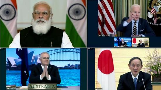 Indian Prime Minister Narendra Modi takes part in the First Quad Leaders' Virtual Summit with US President Joe Biden, Australian PM Scott Morrison and Japanese PM Yoshihide Suga in March. (ANI)