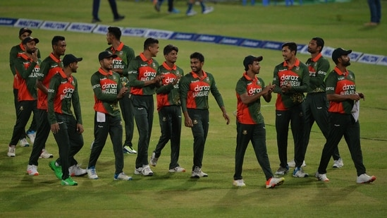 Team Bangladesh celebrates after winning the second ODI against Sri Lanka and securing the series.(TWITTER/ICC)