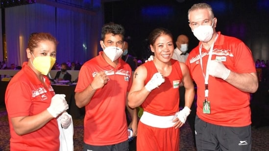 Mary Kom made her way into the final after defeating Lutsaikhan Altantsetseg. (BFI Official/Twitter)