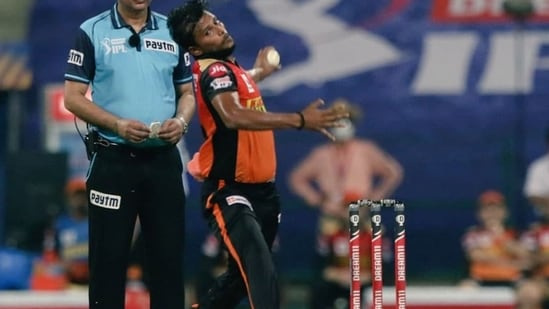 File photo of T Natarajan bowling in the IPL(IPL/Twitter)