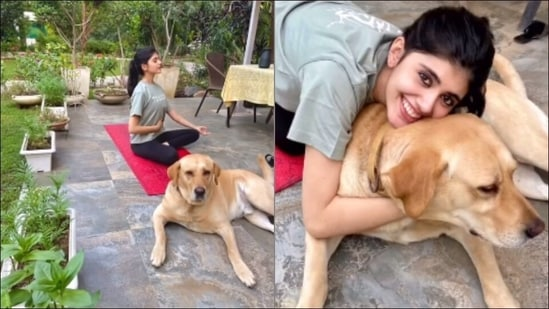 Sanjana Sanghi's Pranayam with 'doggo therapy' is cutest fitness inspo(Instagram/sanjanasanghi96)