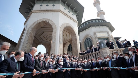Turkish President Tayyip Erdogan and officials attend the inauguration of Taksim Mosque in central Istanbul, Turkey May 28, 2021.(via Reuters)