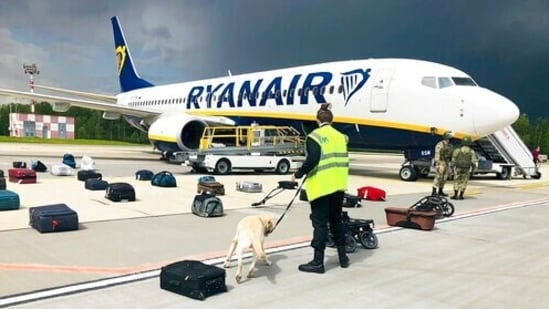 On Sunday, an Irish airline Ryanair traveling from Greece to Lithuania made an emergency landing in Minsk over a bomb threat, which turned out to be fake. (AP)(AP)