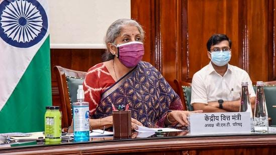 Union Finance Minister Nirmala Sitharaman chairs the 43rd GST Council meeting in New Delhi.(PTI Photo)