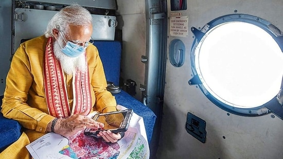 PM Modi on an aerial tour of the cyclone-hit areas on Friday.